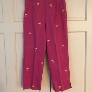Requirements hot pink capris with palm trees 6P